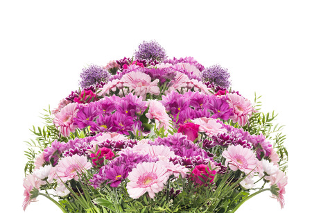 Big flower bouquet with pink summer flowers, isolated photo