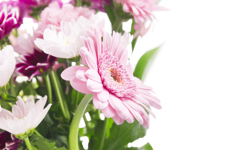 flower bunch: Flower bunch with pink gerberas, isolated on wihte background