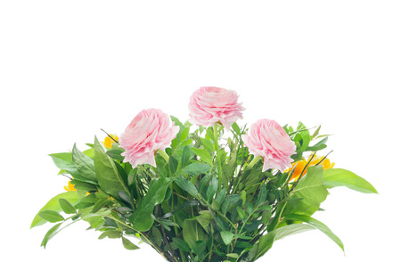 close p: bunch with pink buttercups and greens isolated