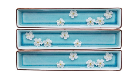 rectangular blue bowls with water and white flowers,isolated on white