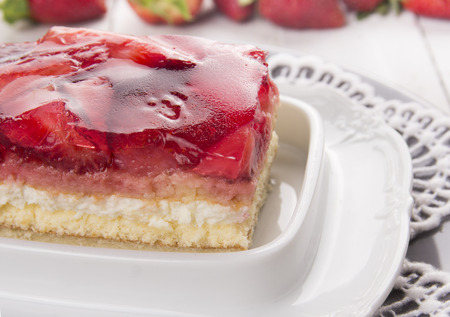 strawberry jelly: strawberry puff cake with cream and jelly