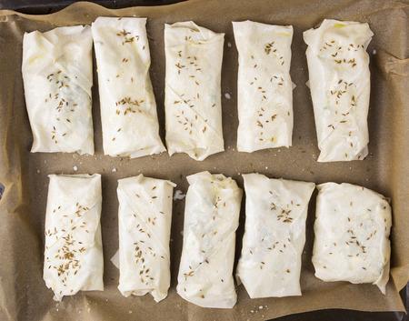 yufka: preparation of burek pies,  puff pastry