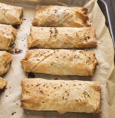filo pastry: filo pastry baked puff pastry pies Stock Photo