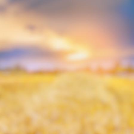 light landscape: Blurred sunset field nature autumn background Stock Photo