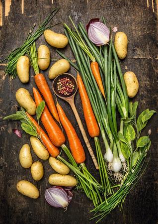 zanahoria: Verduras frescas y hierbas Ingredientes para cocinar con el viejo cuchara en el fondo oscuro de madera r�stica Vista Superior