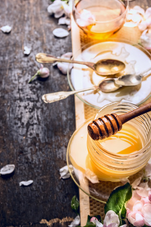 blossom honey: Fresh spring honey in glass jar with tea and blossom on rustic wooden background Place for text Stock Photo