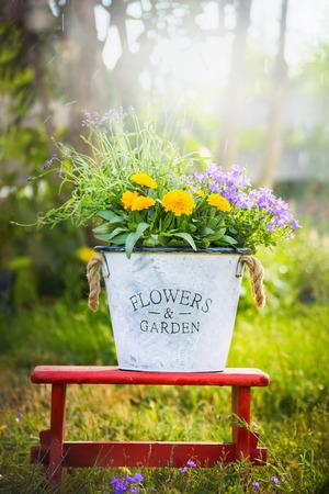 cottage garden: White bucket with garden flowers on red little stool over summer nature background