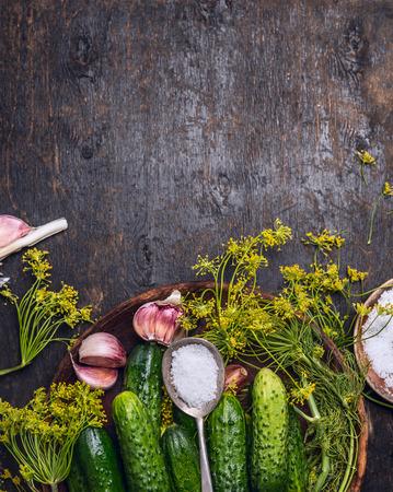 ajo: Pepino fresco jardín con ingredientes para preservar: cuchara de sal, el eneldo y el ajo en el fondo de madera rústica, vista desde arriba, el lugar de texto