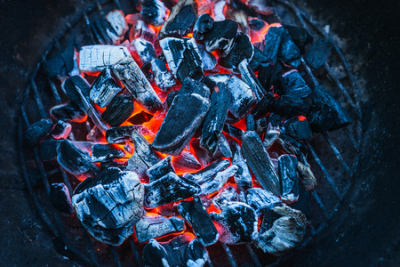 coals: Burning coals, close up, background, top view Stock Photo
