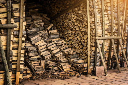 wood chip: Shed with fire wood for the fireplace