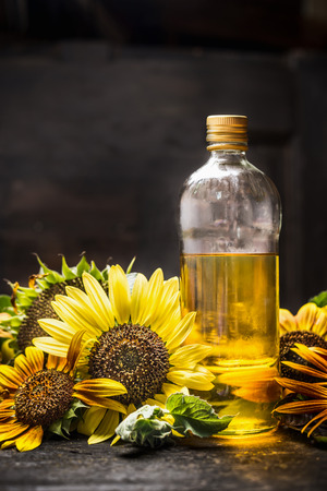 oil seed: bottle of Sunflower oil with fresh blooming on dark wooden background Stock Photo
