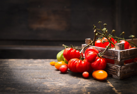 Fresh organic garden tomatoes in vintage box on rustic table over dark wooden background.  Healthy and vegetarian food concept.