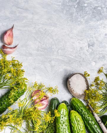 PICKLES: pepinos orgánicos frescos con ingredientes para la preservación de madera en el fondo gris, vista desde arriba, vertical Foto de archivo