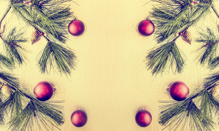 red christmas ball: Christmas background with deco baubles and fir branches , vitage toned