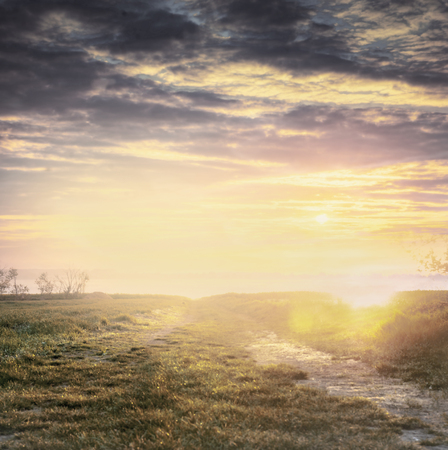 nature backgrounds: countryside blurred nature background with sunset sky, pastel toned