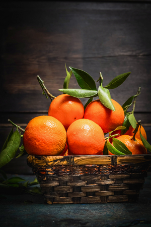 tangerine tree: Fresh ripe tangerines with green leaves in a basket on dark rustic background, side view, close up