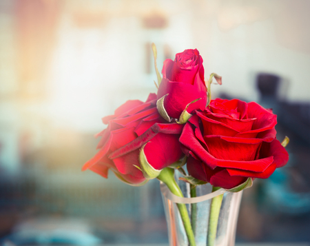 and bouquet: Bouquet di rose rosse in vaso di vetro sopra la finestra, messa a fuoco selettiva