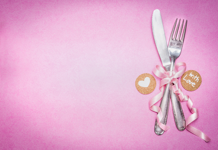 Romantic table place setting with sign decoration and message for you and heart on pink background, top view, banner