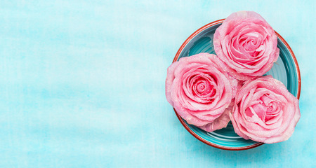 Bowl with water and pink roses flowers on blue background, top view, banner. Wellness or spa concept.