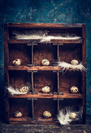 side table: Quail eggs with feathers  on shelves in vintage  wooden box , rustic background, side view. Easter greeting card. Stock Photo