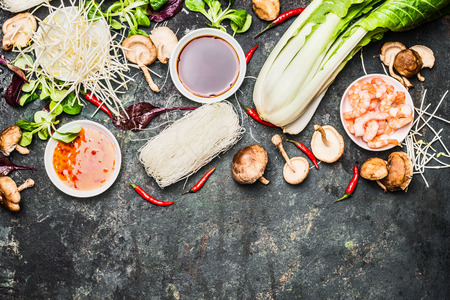 noodle soup: Delicious asian cooking ingredients for Thai or Chinese cuisine . Wok stir fry  ingredients.