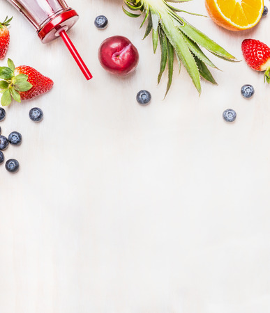 strawberry smoothie: Smoothie ingredients on white wooden background, top view, border. Superfoods and health or detox  diet food concept. Stock Photo
