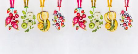 Diverse healthy fruits smoothies with colorful ingredients  on white wooden background, top view, banner. Superfoods and healthy lifestyle or detox  diet food concept. Zdjęcie Seryjne