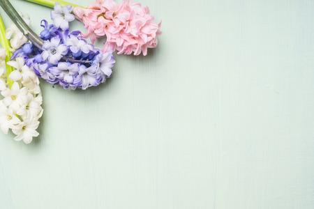 ヒヤシンスのピンク、白、青の光のぼろぼろのシックな背景、上面図、テキストのための場所に花の束。