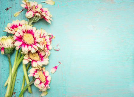 Lovely flowers on turquoise shabby chic background. Festive greeting card Stok Fotoğraf
