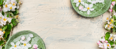Green water bowls with white blossom on light shabby chic wooden background. Wellness and spa concept. Spring blossom background, top view, banner 스톡 콘텐츠