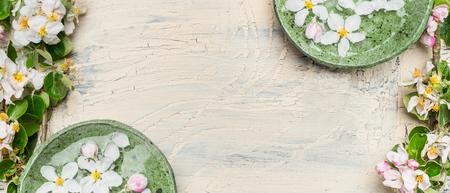 가벼운 초라한 세련 된 목조 배경에 흰 꽃과 녹색 그릇. 웰빙 및 스파 개념입니다. 봄 꽃 배경, 상위 뷰, 배너 스톡 콘텐츠