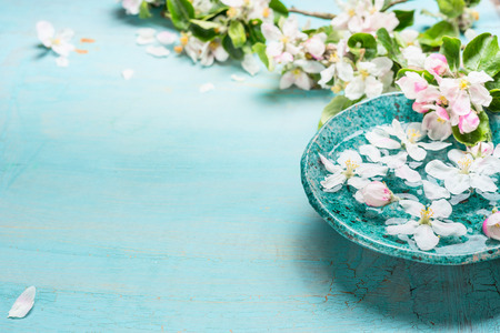Aroma bowl with water and white blossom flowers on Turquoise blue  shabby chic wooden background. Wellness and spa concept. Spring blossom background