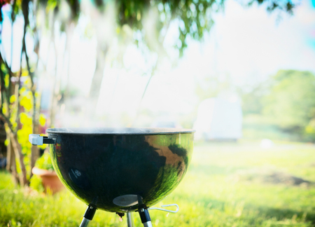 lawn party: Grill with smoke over summer  outdoor nature in garden or park, outdoor, close up Stock Photo