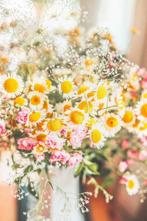 bloomy: Bouquet with wild daisies , Floral background