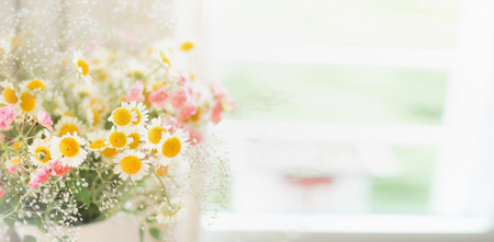 Pretty  daisies bunch at window, floral background