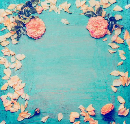blue petals: Roses with petals on blue background, top view. Floral frame