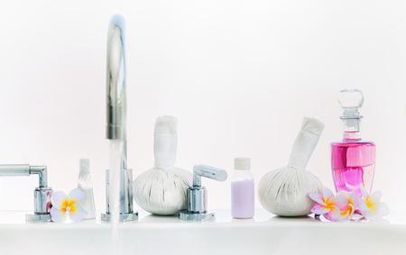 herbal background: Spa or Wellness setting  on  bathtub.