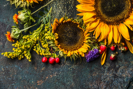 trompo de madera: Floral autumn decoration with flowers and sunflowers on dark rustic vintage background, top view, border Foto de archivo