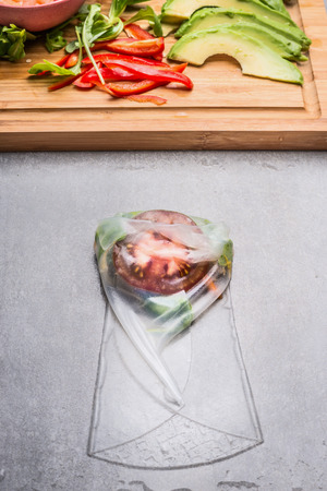 rice paper: Vegetarian Rice paper rolls wrapping, top view, close up