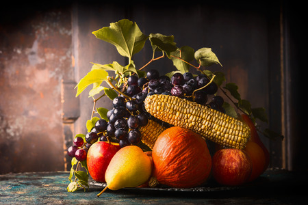 harvest background: Autumn harvest concept. Plate with fall fruits and vegetables on dark rustic kitchen table at wooden background, side view, place for text