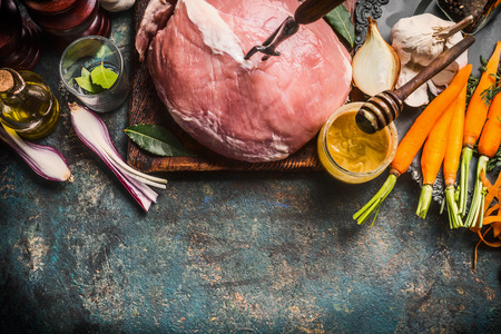 Preparation of  pork ham meat with Honey Mustard Glaze and ingredients on dark rustic background, top view, border 스톡 콘텐츠