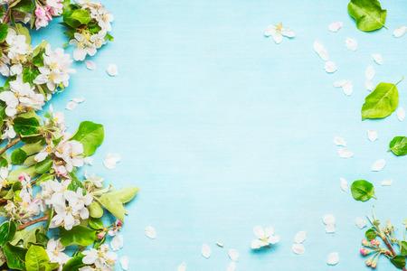 푸른 청록색 배경, 상위 뷰, 프레임에 봄 꽃 스톡 콘텐츠