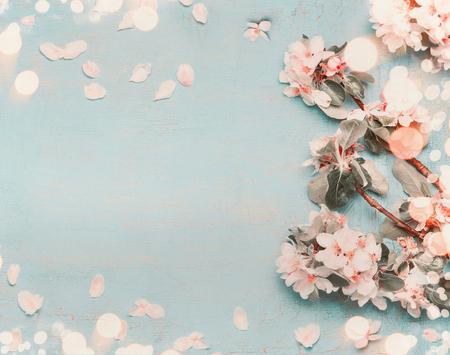 bokeh, 상위 뷰, 파스텔 색상, 테두리와 밝은 파란색 배경에 예쁜 봄의 꽃