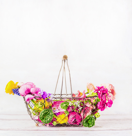 Garden basket with beautiful various colorful garden flowers at white wooden background, front view. Summer gardening concept