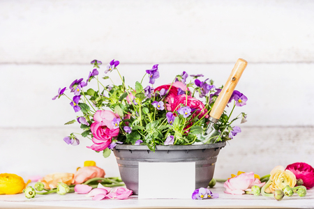Flowers pot with shovel and white paper greeting card on table at white wooden wall background, front view, container  gardening concept