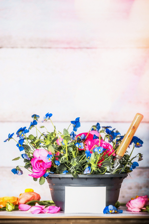 Flowers pot with shovel and blank white card on gardening table at white wooden background, front view