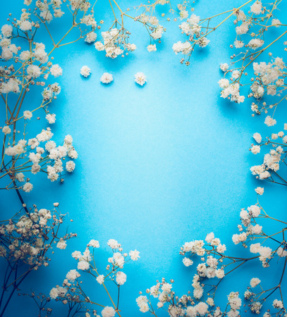 Gypsophila, Baby's-breath flowers on blue background. White flowers frame, top view, copy space