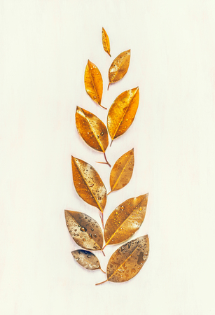 Autumn gold leaves composing, flat lay, ear shape,  top view