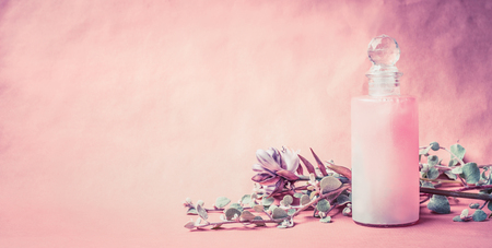 Natural cosmetic product in bottle with herbs and flowers on pink background, front view, banner, place for text. Healthy skin or body care or beauty , wellness treatments concept