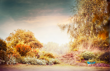 Autumn garden landscape with beautiful sky Stock Photo
